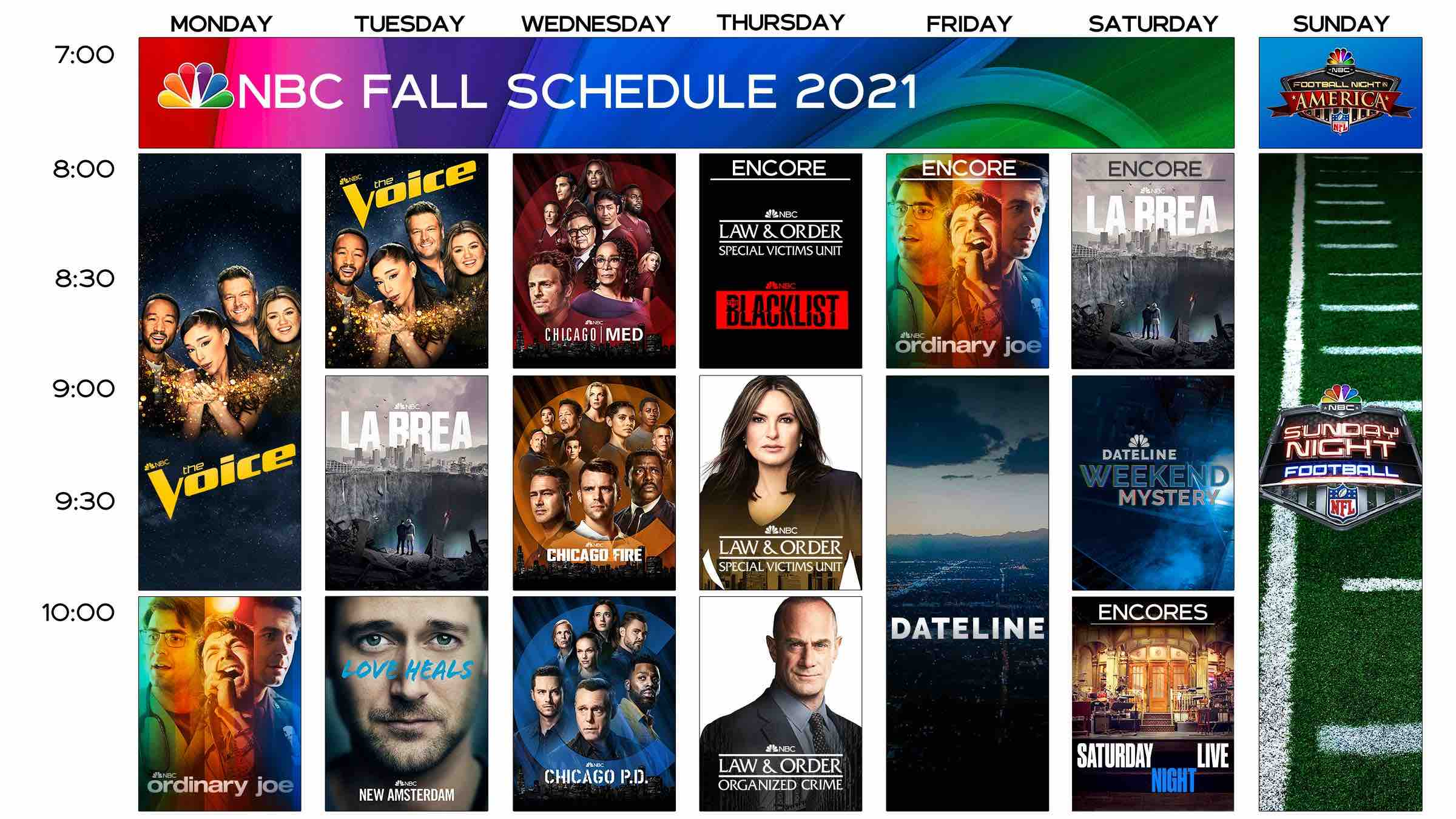 NBC Fall Lineup Schedule